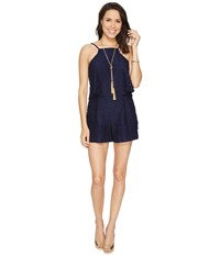 Lilly Pulitzer Celyn Romper True Navy Tic Tac Tile Lace Women's Jumpsuit And Rompers One Piece