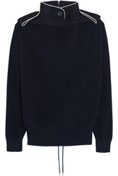 Sacai Lace Up Twill Trimmed Cotton Sweater Navy