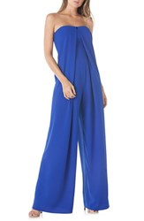 Kay Unger Strapless Crepe Jumpsuit Sapphire