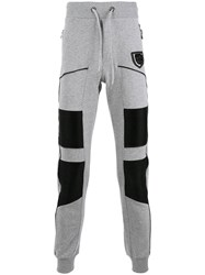 Philipp Plein Leather Panel Track Pants Grey
