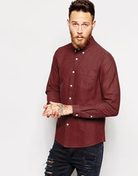 Asos Oxford Shirt In Solid Dye With Long Sleeves Burgundy