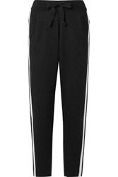 Atm Anthony Thomas Melillo Striped Cotton Blend Track Pants Black
