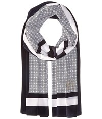 Michael Michael Kors Graphic Bit Oblong Navy White Scarves Blue