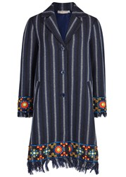 Tory Burch Luna Navy Embellished Tweed Jacket