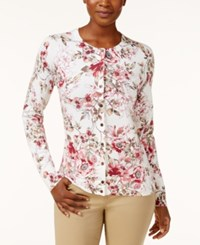 Karen Scott Printed Cardigan Only At Macy's Winter White Floral Combo