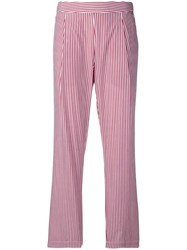 Semicouture Striped Straight Leg Trousers Red