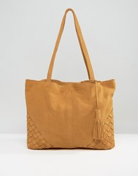 Asos Suede Shopper Bag With Weave Corners Tan