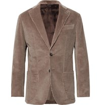 Thom Sweeney Taupe Slim Fit Unstructured Cotton Corduroy Suit Jacket Brown