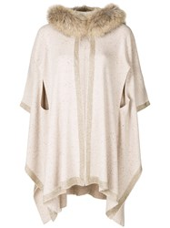 Sonia Rykiel Trimmed Cape Coat Nude And Neutrals