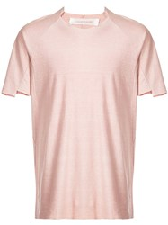Individual Sentiments Raw Edge T Shirt Pink And Purple