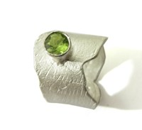 Catherine Marche Sculptural Peridot And Sterling Silver Ring