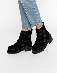 Kat Maconie Vanna Black Shearling Leather Flat Ankle Boots Black Shearling