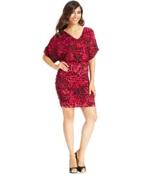 Thalia Sodi Printed Blouson Bodycon Dress Only At Macy's Frsh Raspb