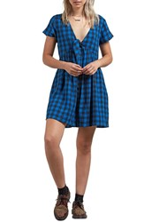 Volcom Check Out Time Dress Blue True