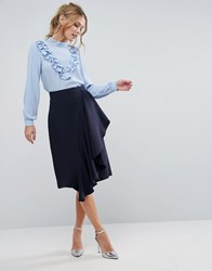 Closet London Ruffle Detail Pencil Skirt Navy