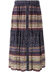 Sea Blue Patterned Pleated Skirt Sea