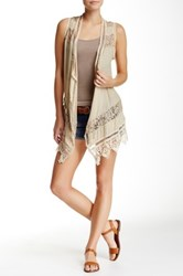 Jolt Crochet And Lace Boho Vest Beige