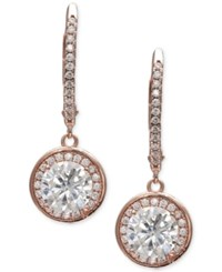 Giani Bernini Cubic Zirconia Halo Drop Earrings In 18K Rose Gold Plated Sterling Silver Created For Macy's