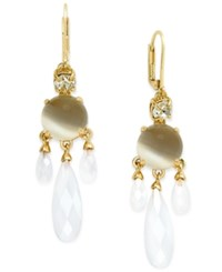 Kate Spade New York Gold Tone Stone And Crystal Chandelier Earrings White