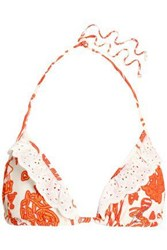 Just Cavalli Broderie Anglaise Trimmed Printed Triangle Bikini Top Orange
