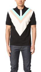 Fred Perry By Raf Simons Wide Chevron Pique Shirt Black