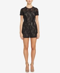 1.State Short Sleeve Lace Romper Rich Black