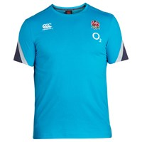 Canterbury Of New Zealand Short Sleeve England Training Rugby T Shirt Blue