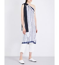 Monse Sequin Embellished Asymmetric Top White And Navy