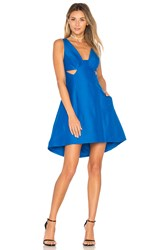 Halston Cut Out Dress Blue