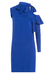 Emilio Pucci Asymmetric Dress With Cut Out Detail On Sleeve Blue