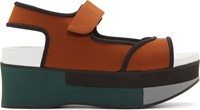 Marni Curry And Coal Wedge Platform Sandals