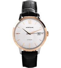 Montblanc 111624 Meisterstuck Heritage Stainless And Leather Watch Mother Of Pearl