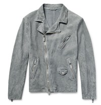 Giorgio Armani Slim Fit Washed Suede Biker Jacket Gray