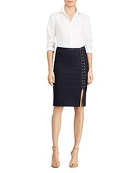 Ralph Lauren Lace Up Denim Pencil Skirt Rinse Indigo