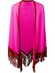 Antonia Zander Fringed Poncho Pink And Purple
