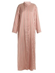 Kalmar Mandarin Collar Striped Silk Dress Burgundy Stripe