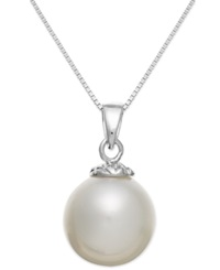 Macy's 14K White Gold White South Sea Pearl Pendant Necklace 10Mm