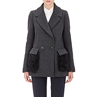 Barneys New York Women's Fur Pocket Felt Peacoat Grey