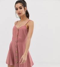 Asos Design Petite Exclusive Mini Slubby Cami Swing Dress With Faux Wood Buttons Pink