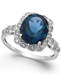 Macy's London Blue Topaz 4 Ct. T.W. And Diamond Accent Ring In 14K White Gold