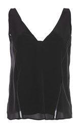 Zeus Dione Ersa Deep V Neck Tank Top Black