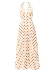 Emilia Wickstead Micaela Halterneck Polka Dot Silk Midi Dress White Multi