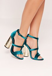 Missguided Metal Block Heel Velvet Sandals Teal