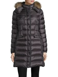 Moncler Hermifur Fox Fur Trimmed Puffer Coat Grey Black