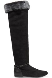 Giuseppe Zanotti Faux Fur Trimmed Suede And Leather Knee Boots Black