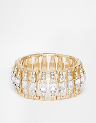 Lipsy Crystal Stretch Bracelet Gold