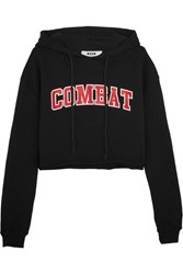 Msgm Cropped Printed Cotton Terry Hooded Top Black
