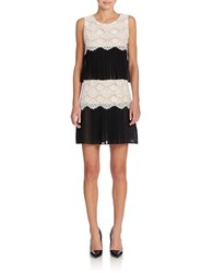 Jessica Simpson Sleeveless Tiered Lace Dress Ivory Black