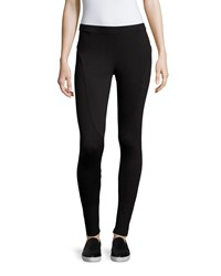 Neiman Marcus Long Seam Detail Leggings Black