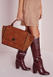 Missguided Studded Winged Tote Tan Brown